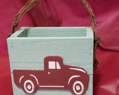 Vintage Truck Cedar Basket with grapevine handles
