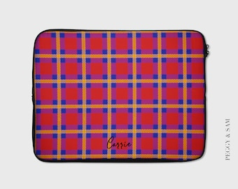 Protective Carrying Case Compatible with 13-15 Inch MacBook Pro Air Notebook,Slim Sleeve Gao808yuniqi Lumberjack Plaid Scottish Cage Background Laptop Sleeve Shoulder Bag for Women