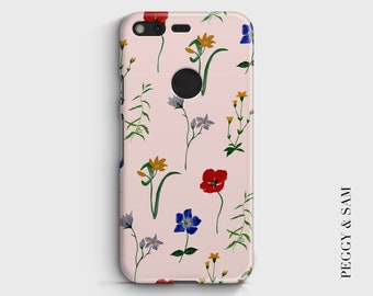 Floral Phone Case - Google Pixel Case - Personalised - Google Pixel Cover - Pink - Wildflowers - Tough Case - Hard Case - Trend