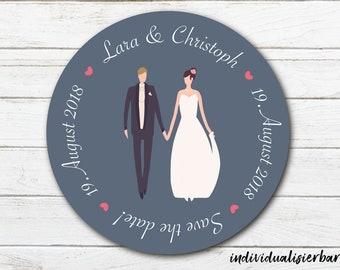 """Hochzeits-Magnet - Save the date/Gastgeschenk - """"Brautpaar schlicht"""" - Ø 60 mm"""