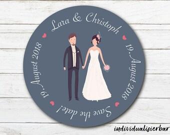 """Hochzeits-Magnet - Save the date/Gastgeschenk - """"Brautpaar verspielt"""" - Ø 60 mm"""