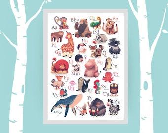 ABC-Poster für Kinder - Tieralphabet