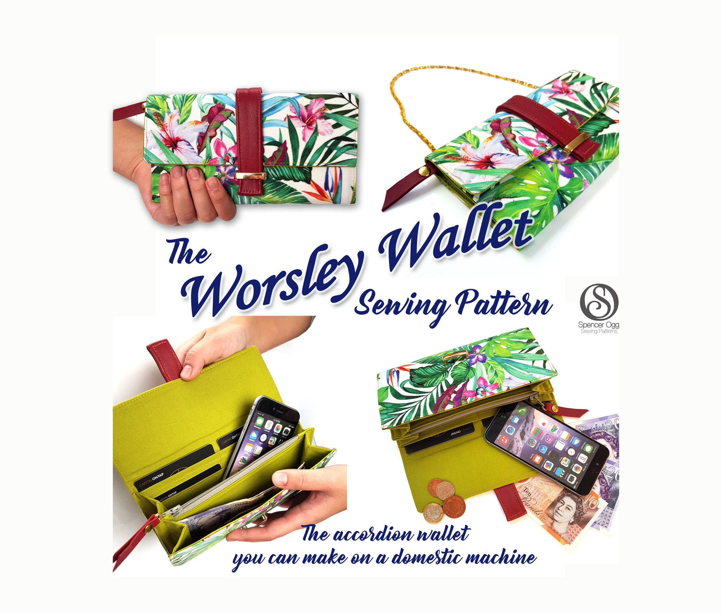 Wallet sewing pattern. The Worsley Wallet | Etsy