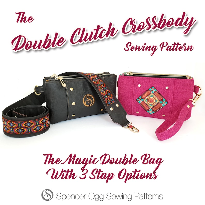 The Regular and Large Double Clutch Crossbody PDF Sewing Pattern BUNDLE
