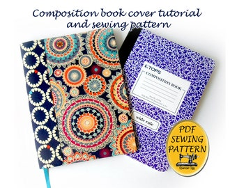 Composition book cover pattern and tutorial. Notebook cover sewing pattern, with free  tutorial for any sized book jacket. PDF download #