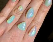Australian crystal opal ring. Custom made opal ring. White cliffs crystal Opal