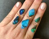 Australian boulder opal ring. Custom made opal ring.