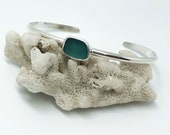 Sea glass cuff bracelet Sterling silver. Sea glass jewellery. Handmade. sea glass. Beach glass bangle