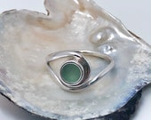 Sea glass engagement ring. wave inspired ring. Hand shaped natural Sea glass engagement ring. Swirl ring