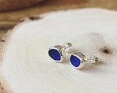 Sea glass stud earrings. Cobalt blue sea glass studs