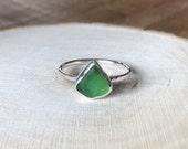 Sea glass ring. Sterling silver seaglass ring. Sea glass jewellery. Handmade sea glass ring.Beach glass.