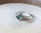 Sea glass ring. Sterling silver Sea glass jewellery. Handmade sea glass ring.
