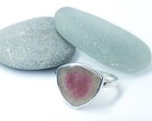 Watermelon tourmaline ring. One if a kind jewellery.  Bi colour tourmaline and sterling silver