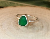 Sea glass ring. Sterling silver. Sea glass jewellery. Handmade sea glass ring.Beach glass.