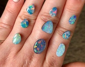 Australian opal doublet ring. Custom made opal ring. rainbow colours