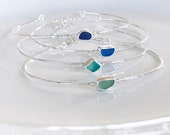Sea glass glass hammered bracelet. Custom made sea glass bangle. Minimal jewellery