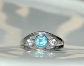 Apatite handmade ring. Sterling silver with apatite and cubic zirconia