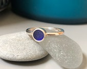 Sea glass engagement ring. Hand shaped natural Sterling silver Sea glass ring