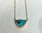 Dainty gold opal necklace. Australian boulder opal necklace