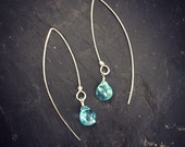 Apatite. earrings. Sterli...