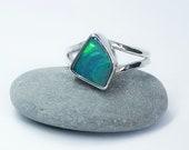 australian opal doublet ring. Sterling silver opal ring