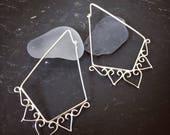 boho hoop earrings. Geo earrings. Sterling silver. Filigree. Henna. Ethnic hoop earrings. Boho earrings