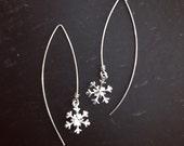 Snowflake earrings. Sterling silver. Marquise. Christmas earrings