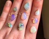 Australian opal ring. Custom made Australian boulder or pipe opal ring.