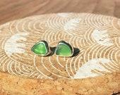 Sea glass stud earrings. ...