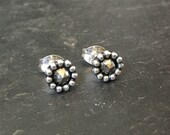 Beaded. Faceted Pyrite. Studs. earrings. Sterling silver. Rose cut. Oxidised.