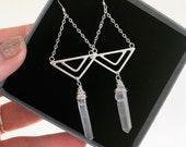 Aztec geometric crystal earrings