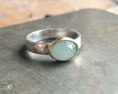 Rose cut aquamarine gold and silver hammered ring