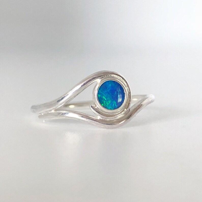 Australian opal swirl wave ring. Flashy opal doublet ring. image 0