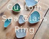 Custom designed Sea glass ring.