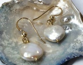 Coin pearl dangle earrings. Wedding jewellery.