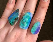 Australian boulder opal ring. Custom made large opal ring.