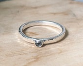 Salt and pepper diamond ring. Sterling silver and diamond stacking ring