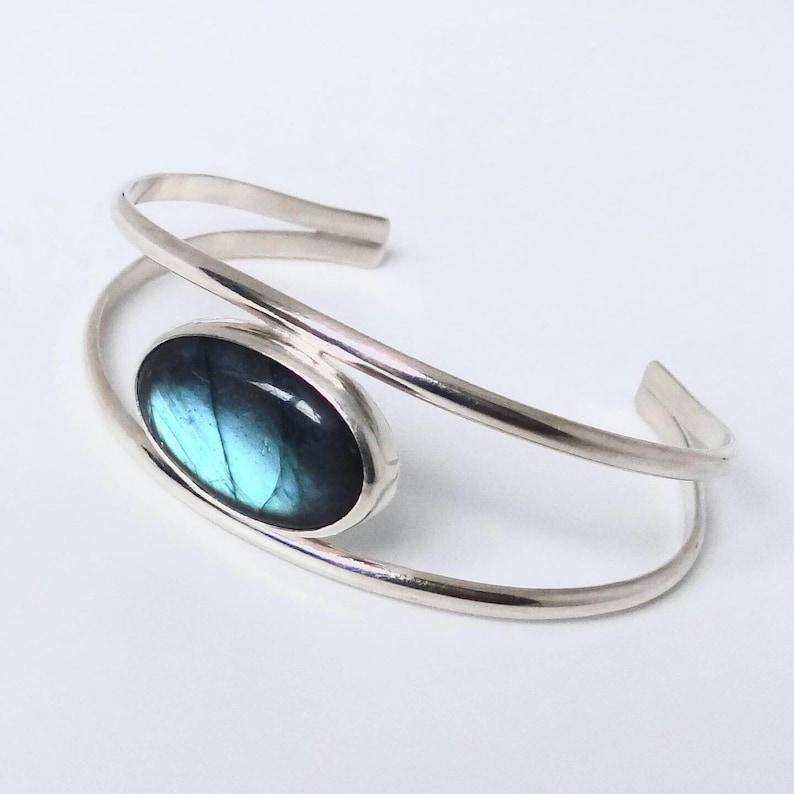 Sterling silver Handmade gemstone jewellery Blue flash Labradortite cuff bracelet