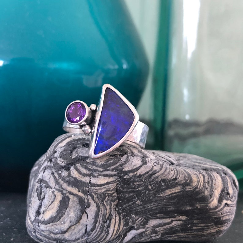 Australian boulder opal ring. Sterling silver opal and image 0