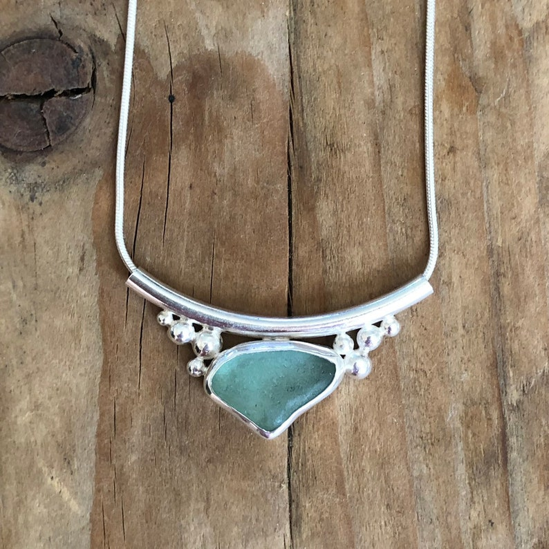 Pendant Sterling silver sea glass necklace Seaglass jewelry