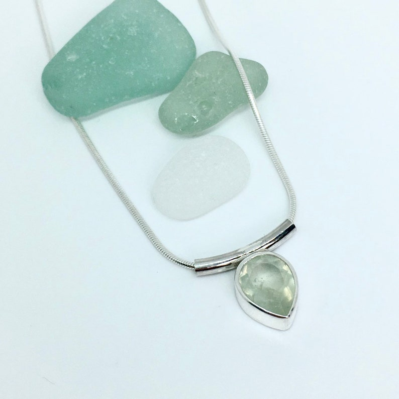 Teardrop Necklace. Sterling silver. Prehnite gemstone. Faceted image 0