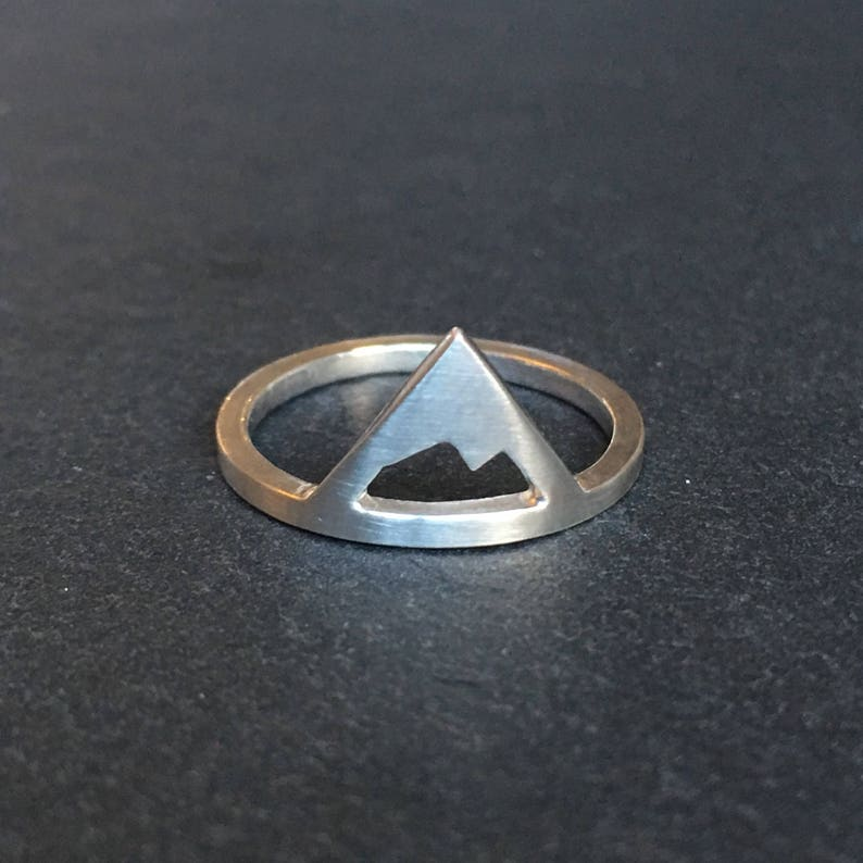 sterling silver mountain ring. Winter jewellery image 0