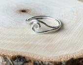 sterling silver swirl wave ring