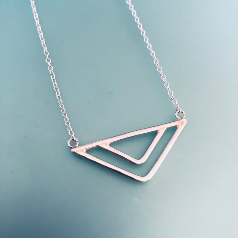 Sterling silver arrow necklace. Minimal jewellery. Aztec image 0