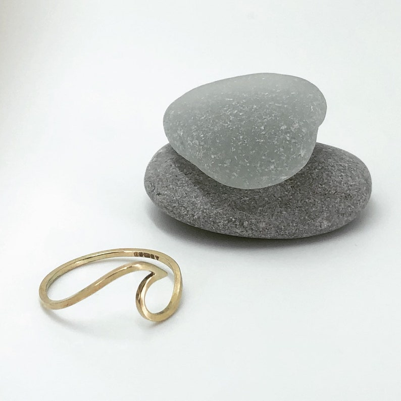Gold wave ring. 9ct yellow gold. Handmade. Surf ring. image 0