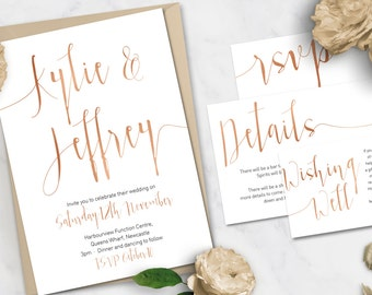 Printable Wedding Stationery Set | Aurora Rose Gold Suite | Wedding Invite | Wedding Invitations | RSVP | Wishing Well | Menu Save the Date
