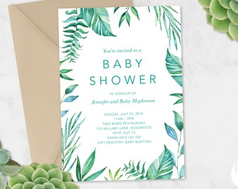 Printable Baby Shower Invitation | Baby Shower Invite | DIY Printable | Wreath Leaves Greenery