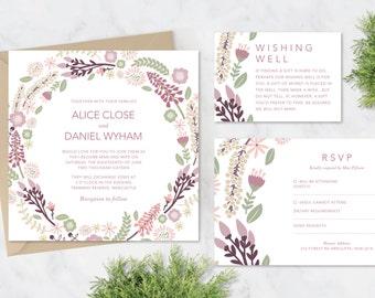 Printable Wedding Stationery Set   Alice Suite   Wedding Invite   Wedding Invitations   RSVP   Wishing Well   Menu   Save the Date Flowers