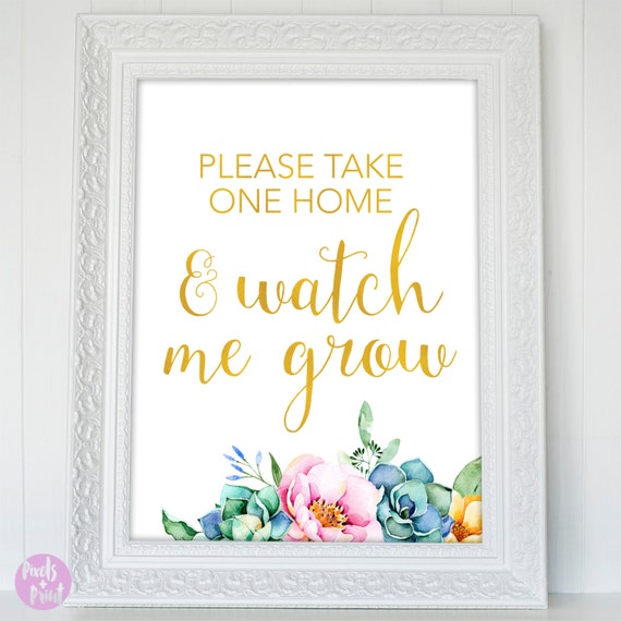 Printable Baby Shower Sign Take One Home And Watch Me Grow Etsy