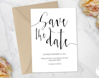Printable Save the date | Wedding invitation | 'Aurora' suite
